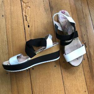 Sacha London Black and White Wedge Sandals